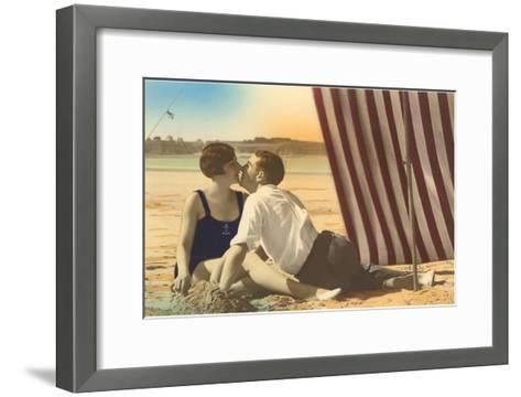 Couple Kissing on Beach--Framed Art Print
