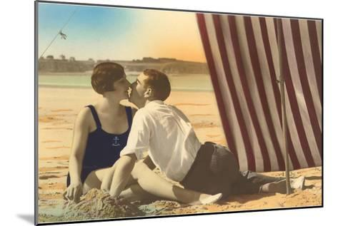 Couple Kissing on Beach--Mounted Art Print