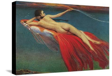 Naked Woman Riding Large Gold Fish--Stretched Canvas Print
