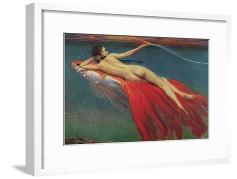 Naked Woman Riding Large Gold Fish--Framed Art Print