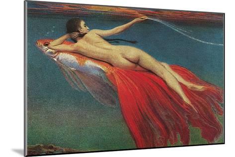 Naked Woman Riding Large Gold Fish--Mounted Art Print