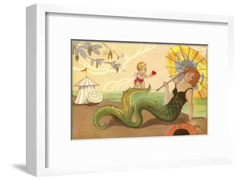 Mermaid with Cupid--Framed Art Print