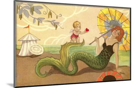 Mermaid with Cupid--Mounted Art Print