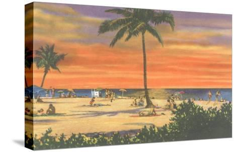 Sunset on a Tropical Beach--Stretched Canvas Print