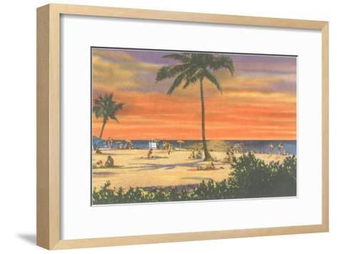 Sunset on a Tropical Beach--Framed Art Print