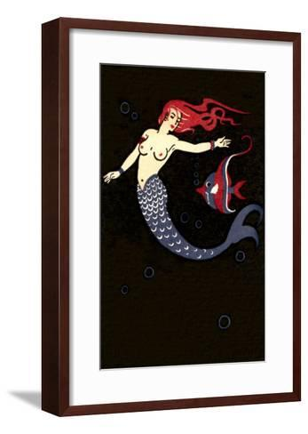 Topless Mermaid with Angel Fish--Framed Art Print