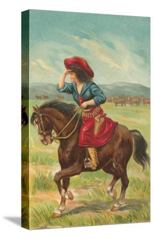 Colorful Cowgirl--Stretched Canvas Print