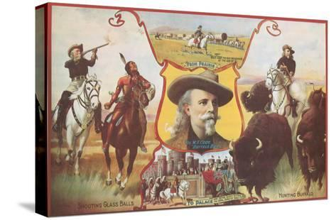 Buffalo Bill with Indians and Bison--Stretched Canvas Print