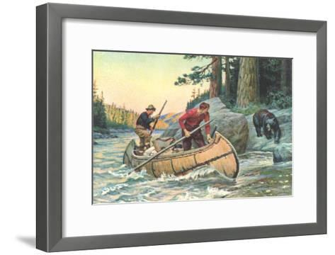 Outdoorsmen Facing Bear--Framed Art Print