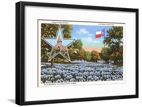 State Capitol, Austin, Texas, Blue Bonnets--Framed Art Print