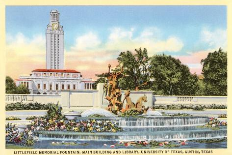 Littlefield Fountain, University of Texas, Austin--Stretched Canvas Print
