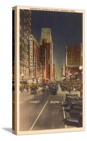 Night, Theatre District, Houston, Texas--Stretched Canvas Print