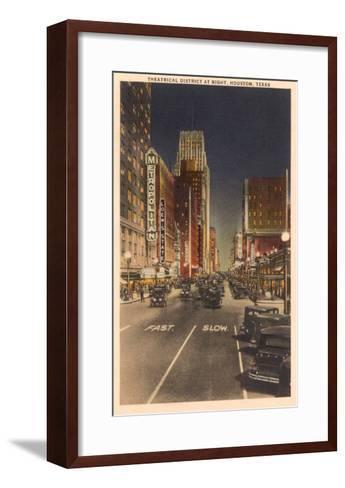 Night, Theatre District, Houston, Texas--Framed Art Print