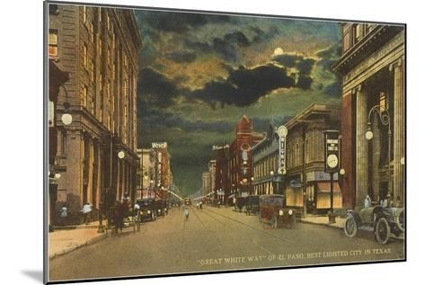 Moon over Great White Way of El Paso, Texas--Mounted Art Print