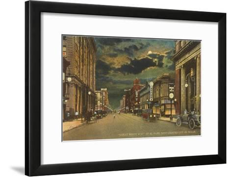 Moon over Great White Way of El Paso, Texas--Framed Art Print