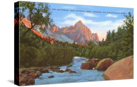 Watchman, Zion Park, Makuntuweap River, Utah--Stretched Canvas Print