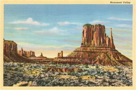 Monument Valley Mitten Butte--Stretched Canvas Print