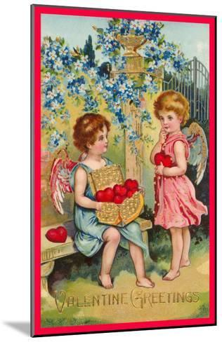 Valentine Greetings, Angels with Hearts--Mounted Art Print