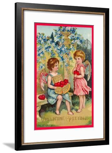 Valentine Greetings, Angels with Hearts--Framed Art Print