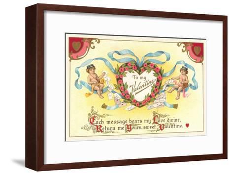 To My Valentine, Cupid Mailmen--Framed Art Print