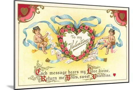 To My Valentine, Cupid Mailmen--Mounted Art Print