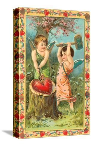 To My Valentine, Cupids Breaking Heart--Stretched Canvas Print