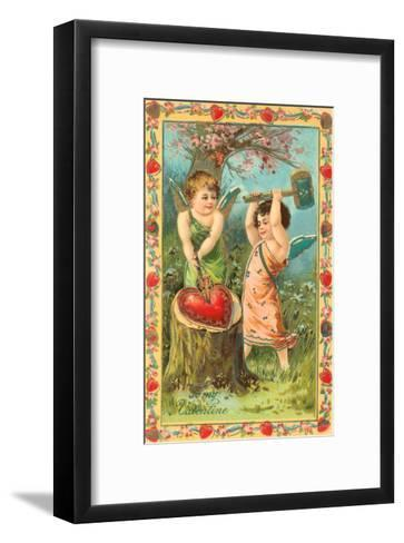 To My Valentine, Cupids Breaking Heart--Framed Art Print