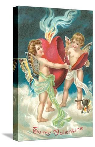 To My Valentine, Cupids Repairing Heart--Stretched Canvas Print