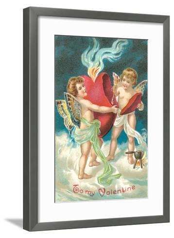 To My Valentine, Cupids Repairing Heart--Framed Art Print