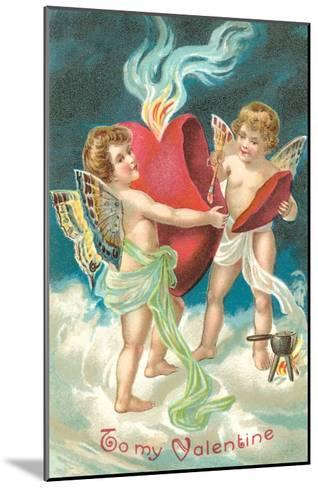 To My Valentine, Cupids Repairing Heart--Mounted Art Print