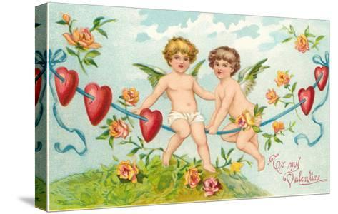 To My Valentine, Cupids on Rope--Stretched Canvas Print