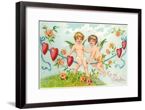 To My Valentine, Cupids on Rope--Framed Art Print