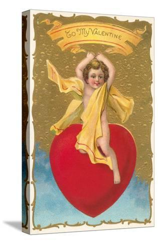 To My Valentine, Cupid on Heart--Stretched Canvas Print