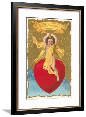 To My Valentine, Cupid on Heart--Framed Art Print