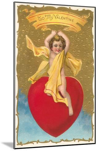 To My Valentine, Cupid on Heart--Mounted Art Print