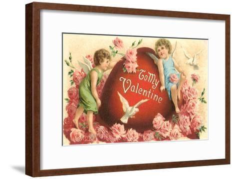 To My Valentine, Cupids and Heart--Framed Art Print