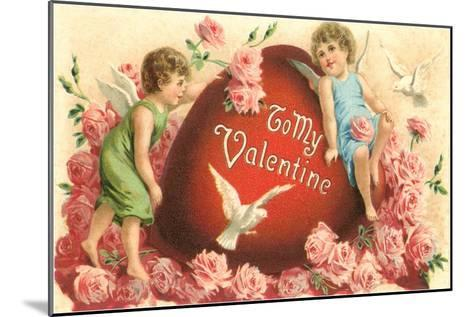 To My Valentine, Cupids and Heart--Mounted Art Print