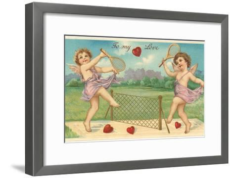 To My Love, Cupids Playing Tennis--Framed Art Print