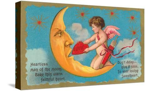 Cupid Feeding Heart to Moon--Stretched Canvas Print