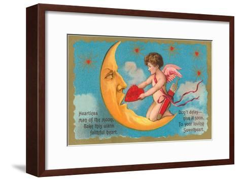 Cupid Feeding Heart to Moon--Framed Art Print