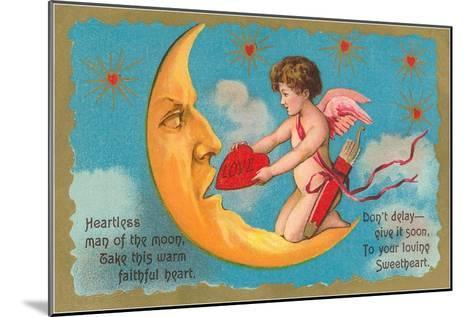 Cupid Feeding Heart to Moon--Mounted Art Print
