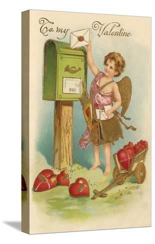 To My Valentine, Cupid Mailing Letter--Stretched Canvas Print