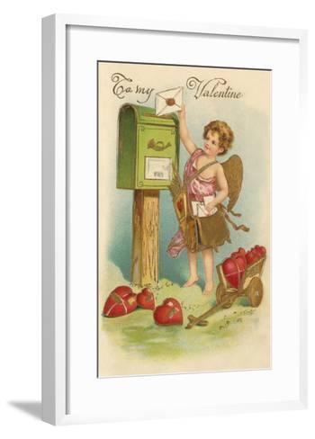 To My Valentine, Cupid Mailing Letter--Framed Art Print