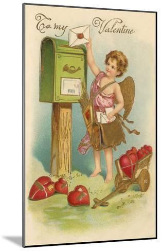 To My Valentine, Cupid Mailing Letter--Mounted Art Print