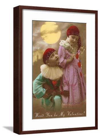 Wont You Be My Valentine? Child Clowns--Framed Art Print