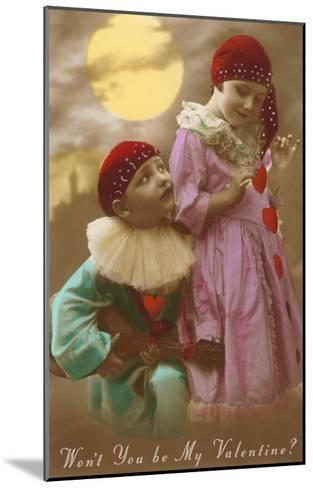 Wont You Be My Valentine? Child Clowns--Mounted Art Print