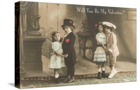Will You Be My Valentine? Two Child Couples--Stretched Canvas Print