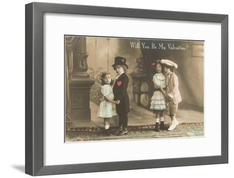 Will You Be My Valentine? Two Child Couples--Framed Art Print