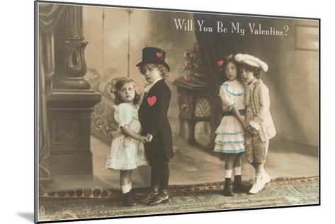 Will You Be My Valentine? Two Child Couples--Mounted Art Print