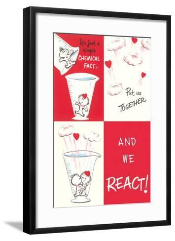 Valentine Cartoon, Chemical Reaction--Framed Art Print
